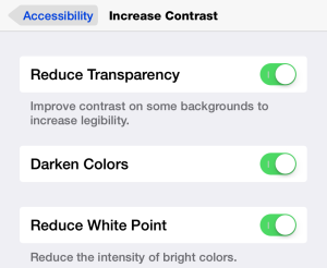 Accessibility visual options.