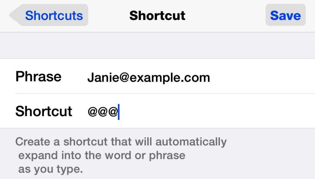 Creating a new text shortcut in iOS