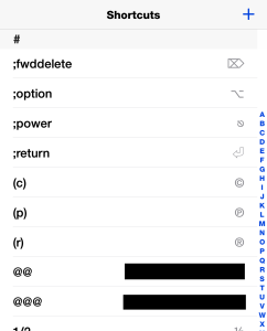 The text-shortcuts screen in Settings
